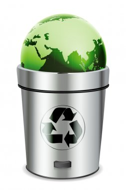 Illustration of recycle bin with globe on white background stock vector
