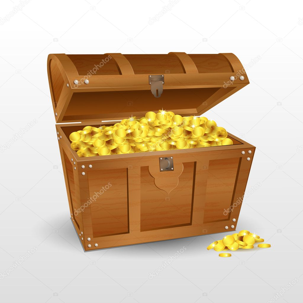 treasure chest with coins u2014 stock photo get4net 5044310