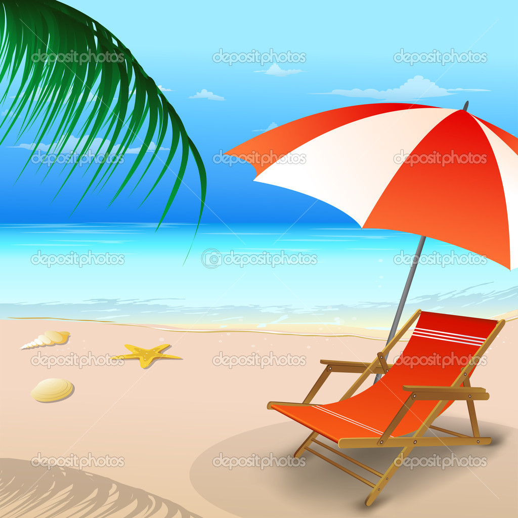Beach chair with an umbrella — Stock © 4net