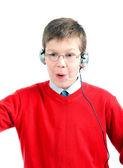 Fényképek portré döbbenve gyermek fejhallgató