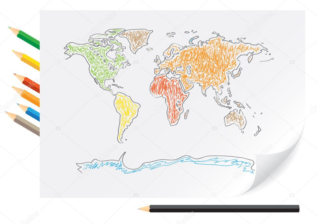 Drawing world map by a color pencils stock vector romvo79 3775025 drawing world map by a color pencils stock vector gumiabroncs Image collections