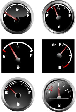 Set of six car dash boards petrol meter