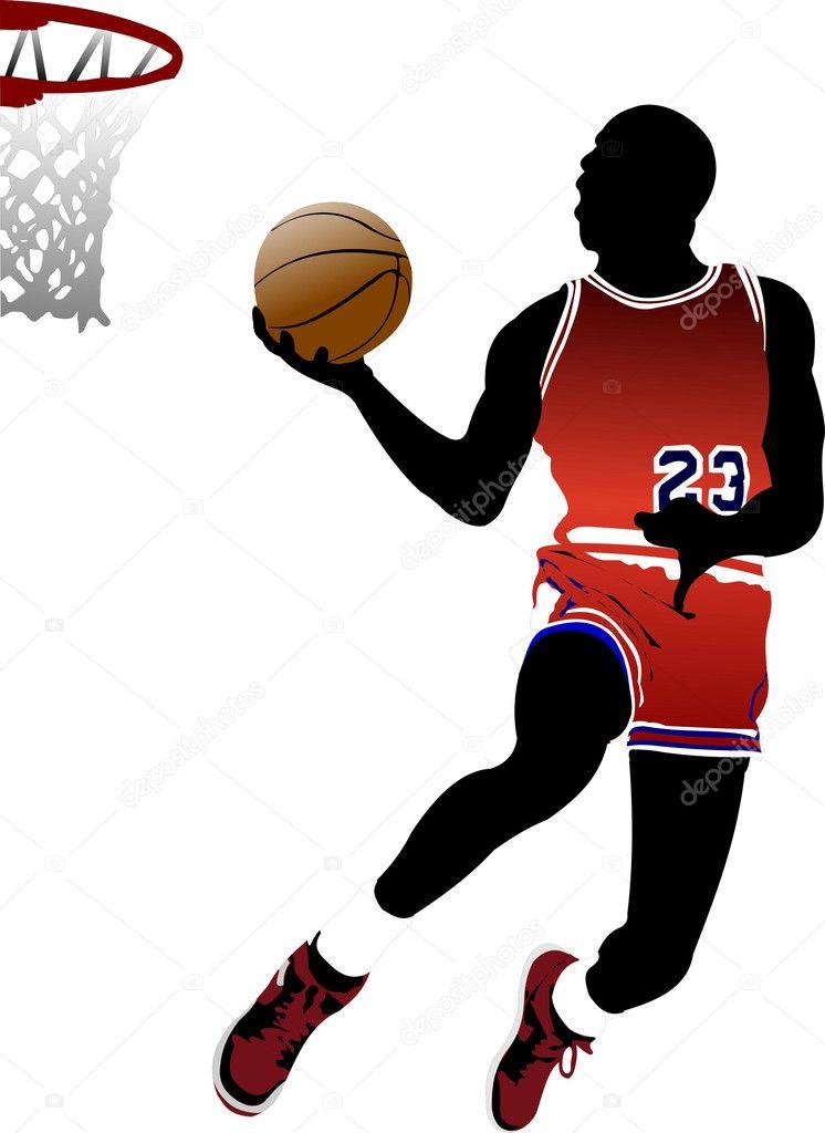 jugadores de baloncesto. ilustración vectorial — Vector de stock ...