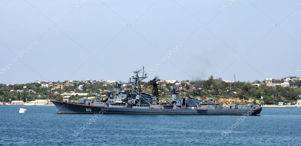 Russian warship in the Bay