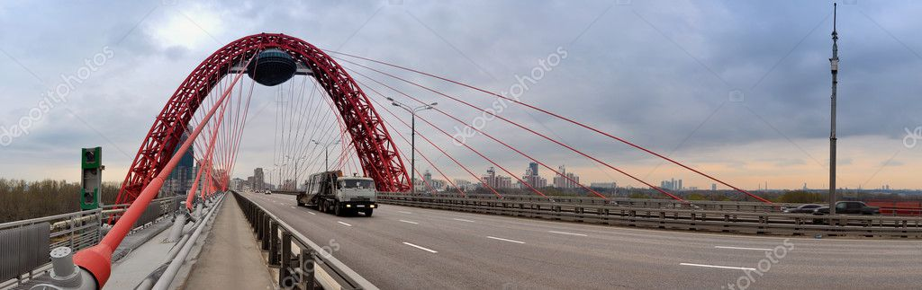 Modern red moscow car bridge panorama