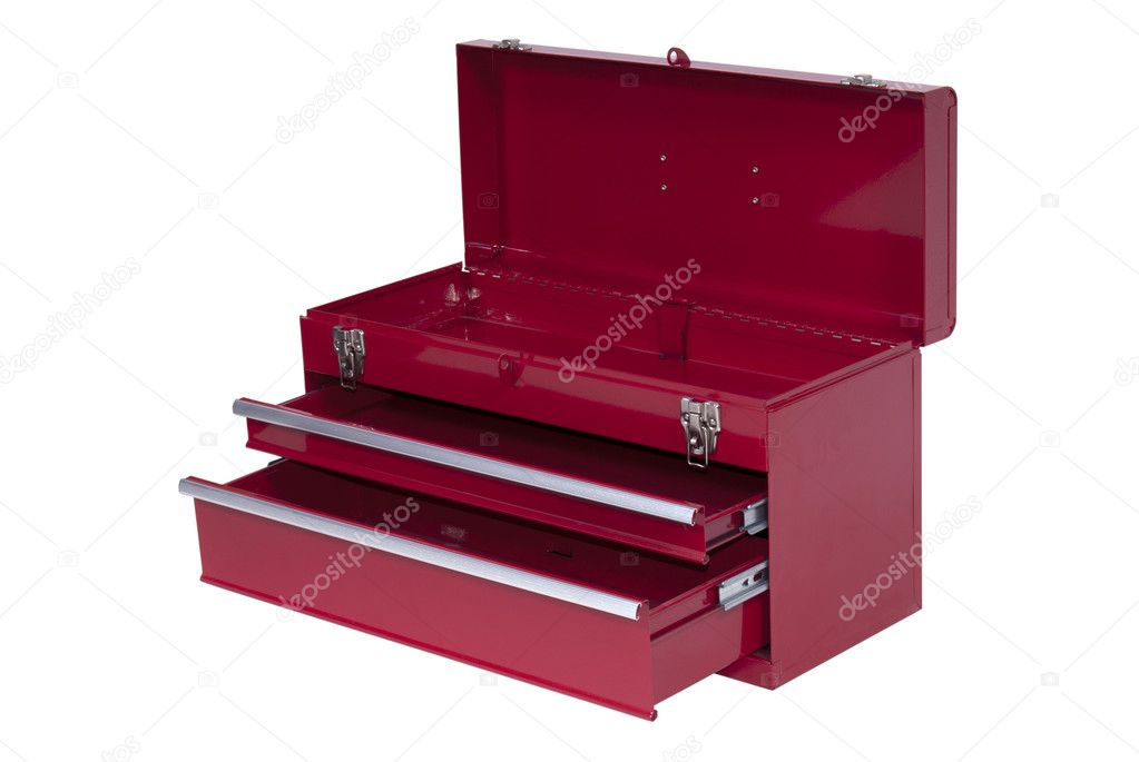 Red metal tool box with three