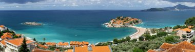 Panoramic view of Sveti Stefan island, Montenegro