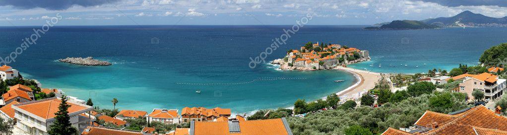 Panoramic view of Sveti Stefan island, Montenegro