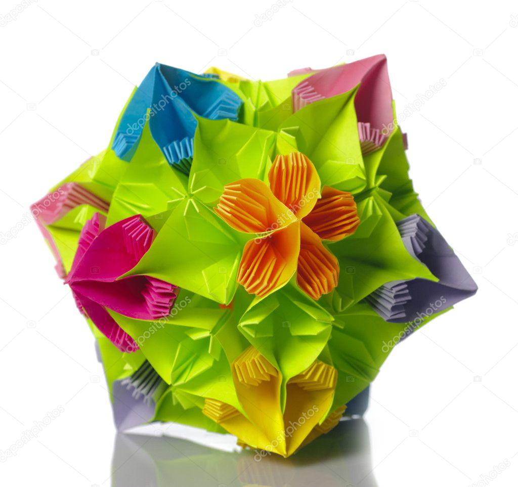 Origami kusudama flower stock photo oksixx 3109168 colorfull origami kusudama from rainbow flowers isolated on white photo by oksixx mightylinksfo Gallery