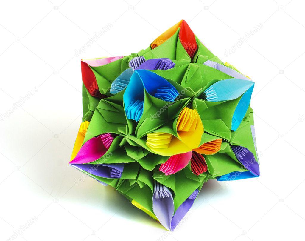 Origami kusudama flower stock photo oksixx 3192631 colorfull origami kusudama from rainbow flowers isolated on white photo by oksixx jeuxipadfo Gallery