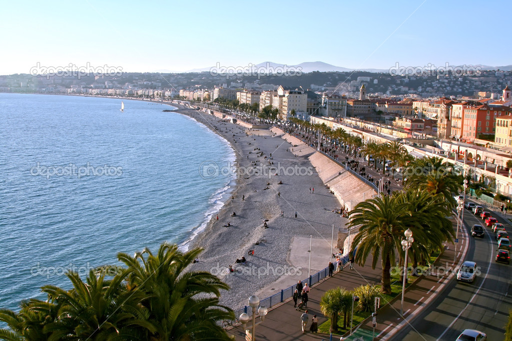 Beach and town, Nice, France