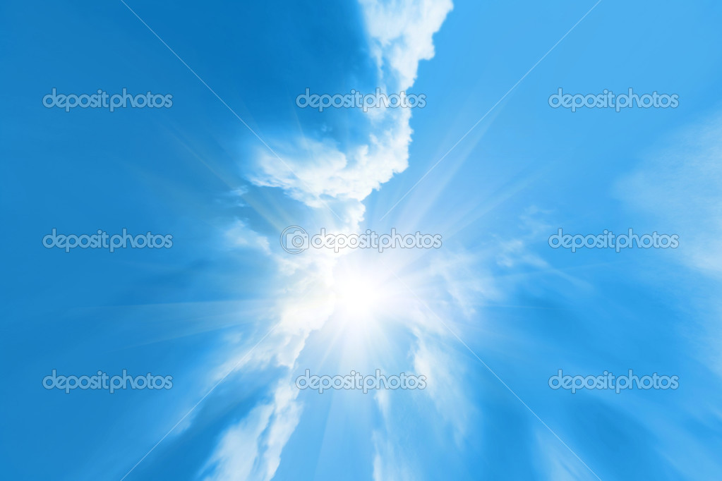 Sky background with sun beams