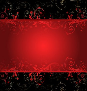 Vector black and red floral background for text with pattern clip art vector