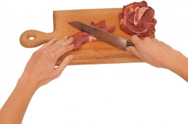 Meat on the board with knife on the kitchen stock vector