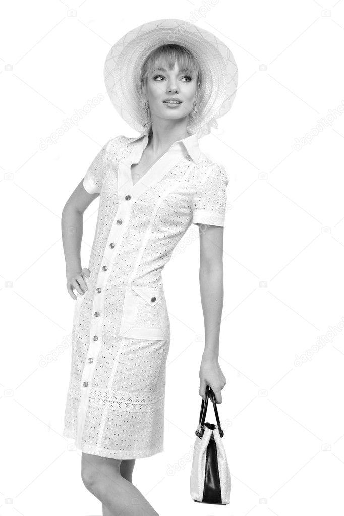new concept 1b164 7e5be Giovane e bella donna in vestiti leggeri su sfondo bianco ...
