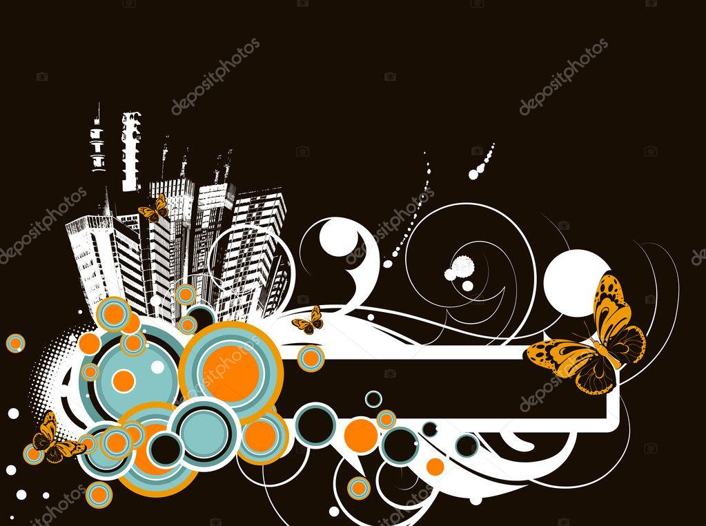 Цветочные аннотация жизнь города баннер — Векторное ... Гостиница Вектор