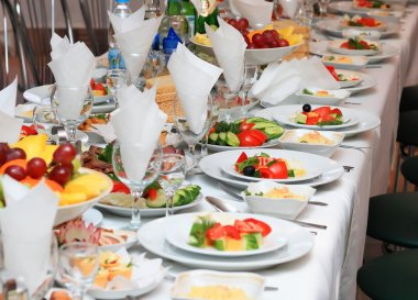 Food at a wedding or catering event