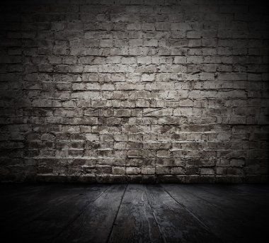 Old room with brick wall stock vector