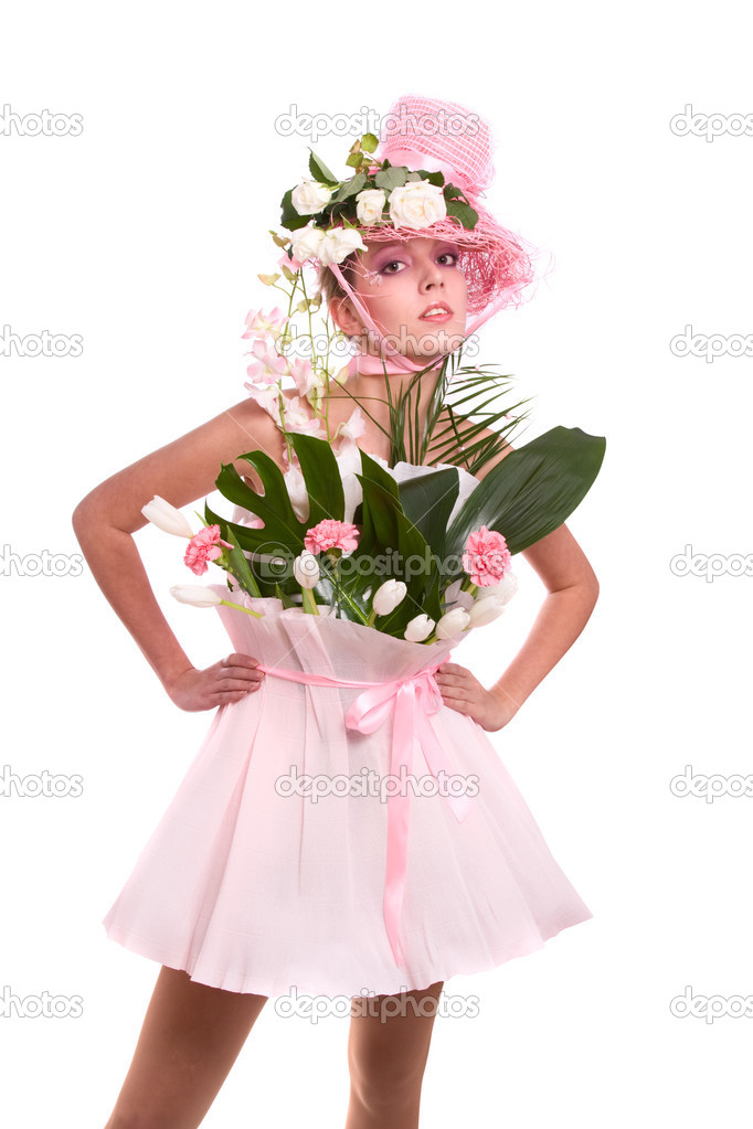 Fashion woman is bunch of flowers.