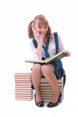 Schoolgirl is reading