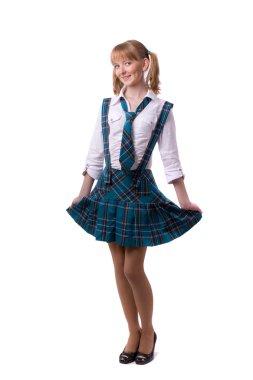 Senior high school student in uniform is posing