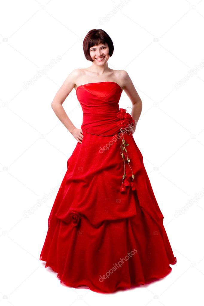 Krásná mladá žena v červené dlouhé šaty. dívka v červených šatech portrét.  šťastná žena v červené plesové šaty — Fotografie od ... 75ba7fd8905
