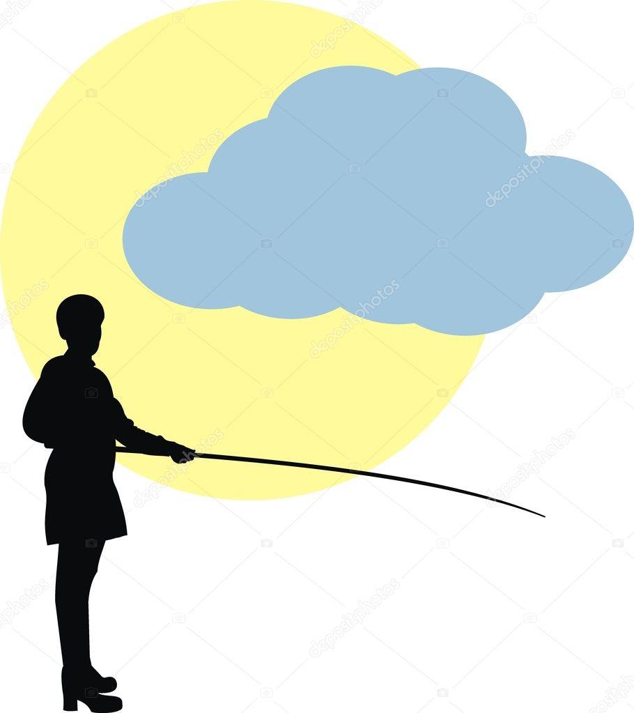 Woman in fishing. Sun and cloud.