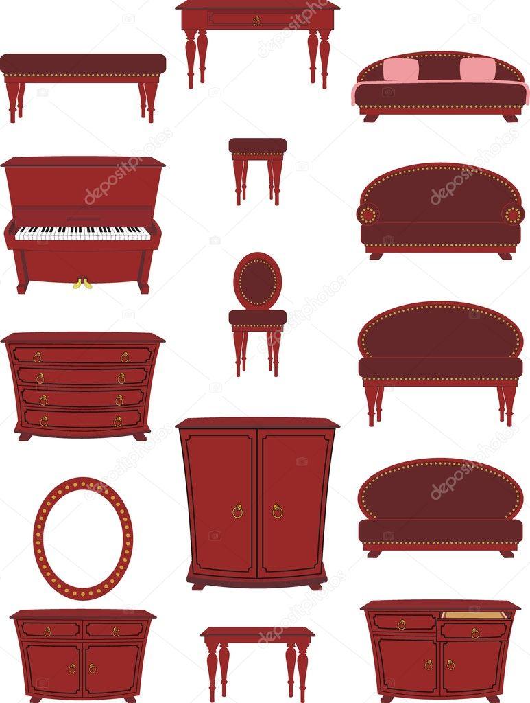Conjunto De Muebles De Dibujos Animados Vector De Stock  # Muebles Dibujos Animados
