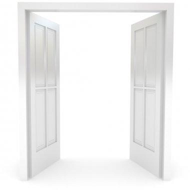 Open door over white