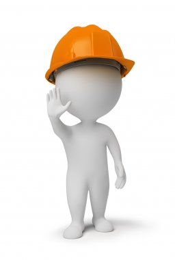 3d small - worker at a stop pose