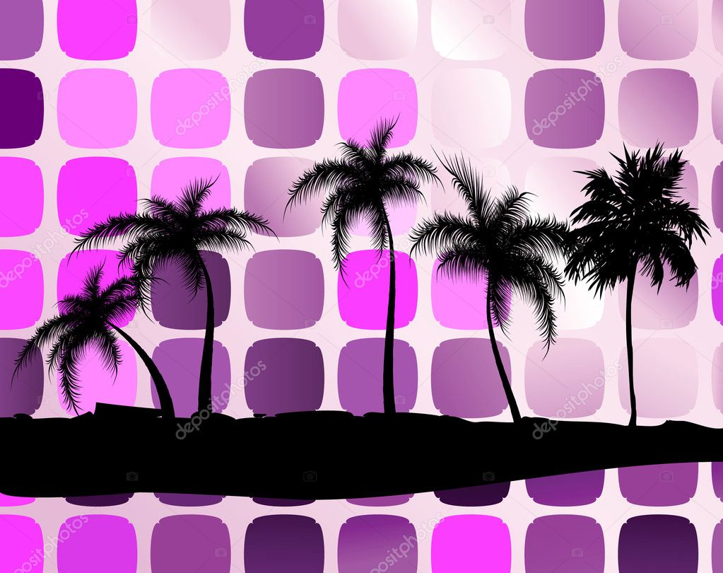 Palm trees against squares