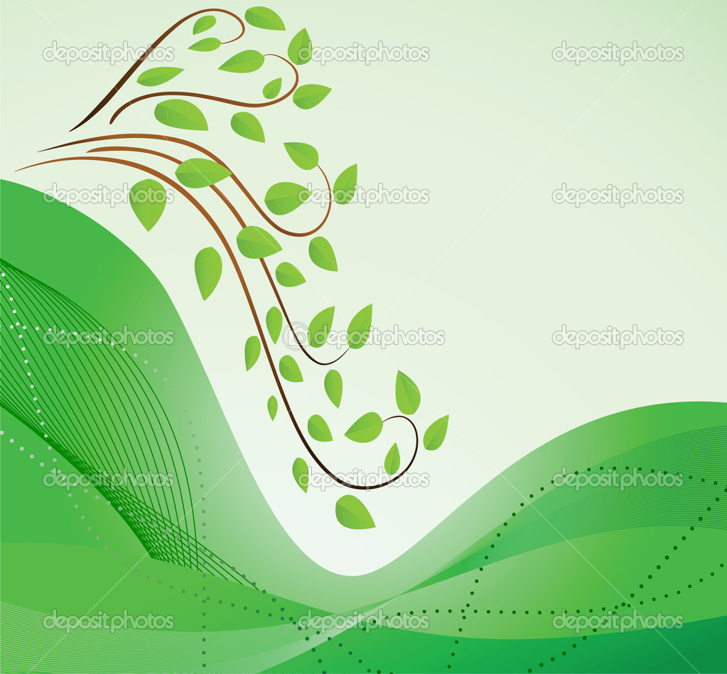 Abstract green background with branches