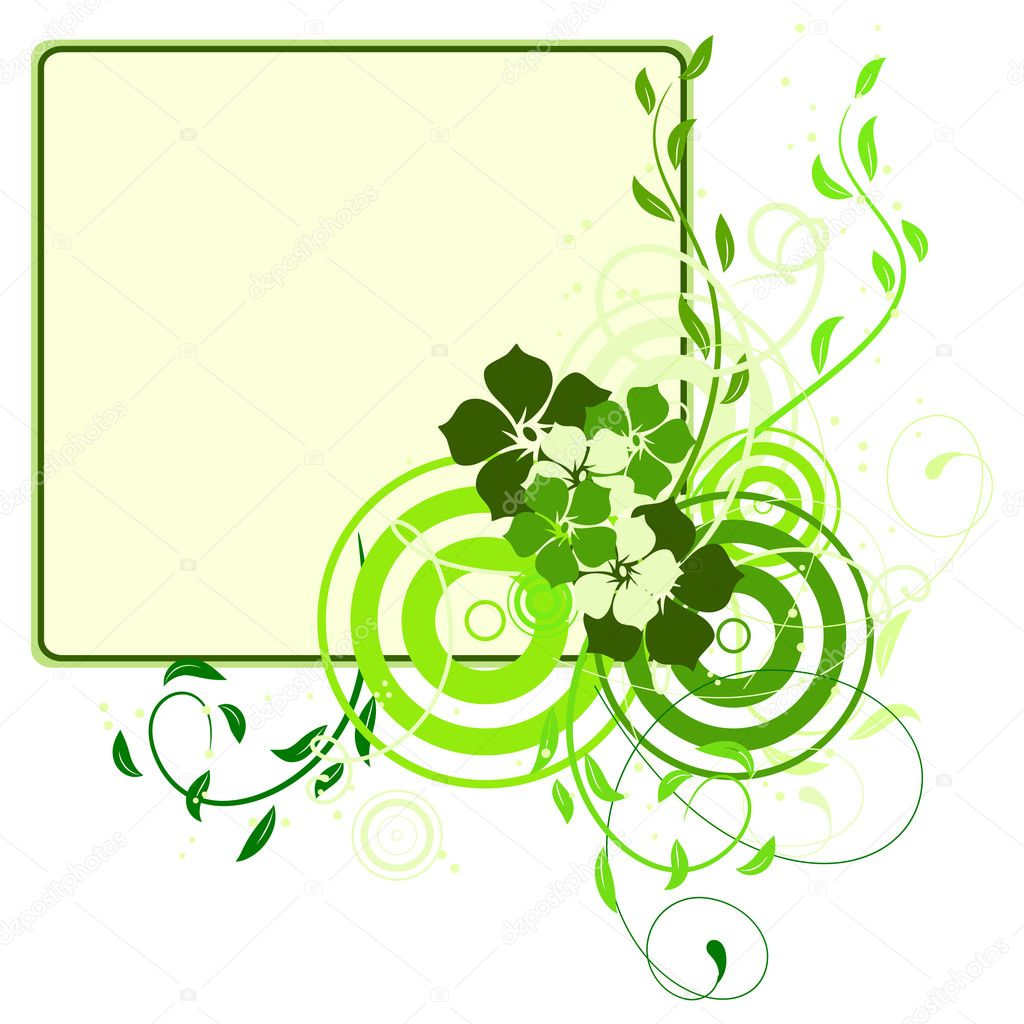 Green banner with flowers