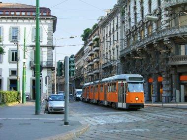 Milan street with orange tram