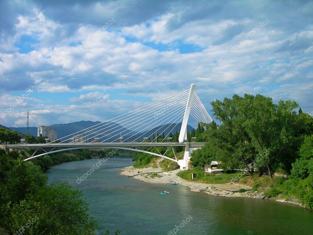 Millennium bridge over Moraca river, Podgorica, Montenegr
