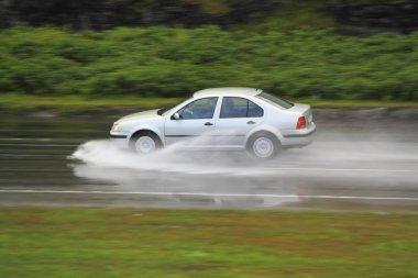 Driving in rainstorm
