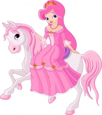 Beautiful princess with pink dress riding horse stock vector