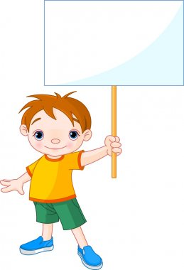 Boy holding a blank sign