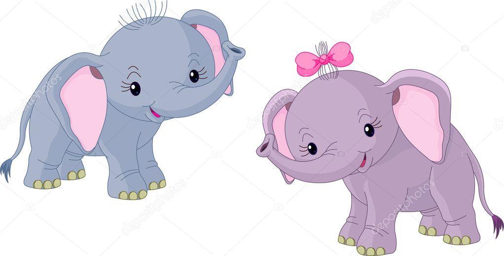 Imágenes Elefantes Bebes Dos Bebés Elefantes Vector De Stock