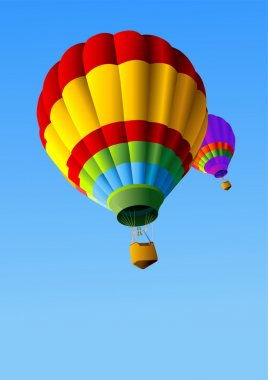 Colorful Hot Air Balloons in Flight Background clip art vector