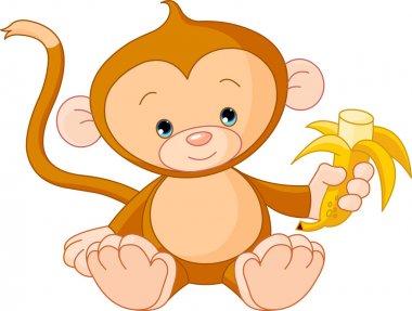 Illustration of baby Monkey eating banana stock vector