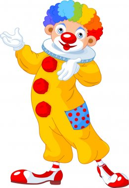 Funny Clown presenting