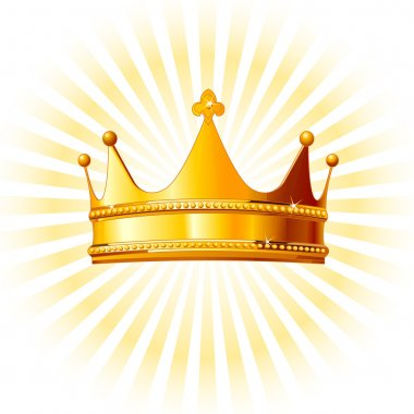 Golden crown on glowing background