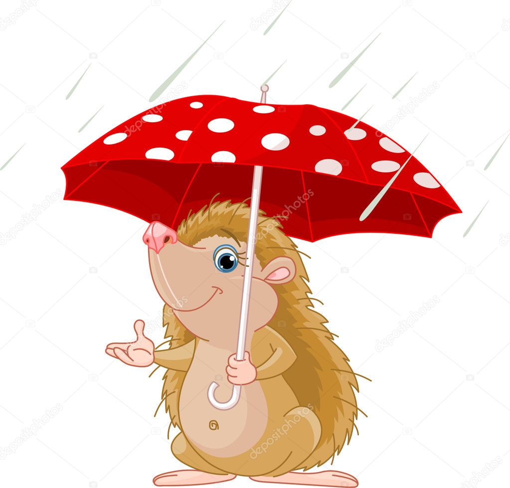 Hedgehog under umbrella presenting