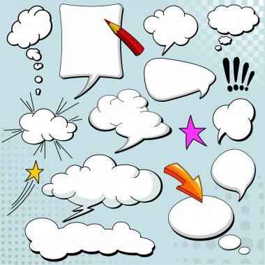 Comics style speech bubbles / balloons on yellow background clip art vector