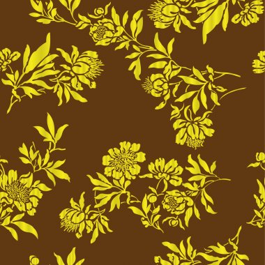 Gold floral designs on the brown background stock vector