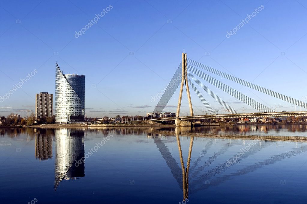Modern buildings and cable bridge