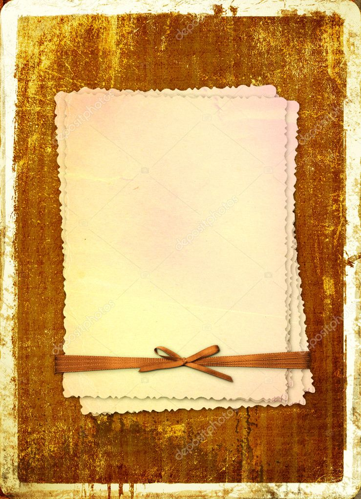 Grunge alienated card from old paper on the abstract background