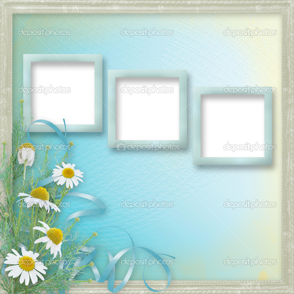 Grunge frames with beautiful daisy for design