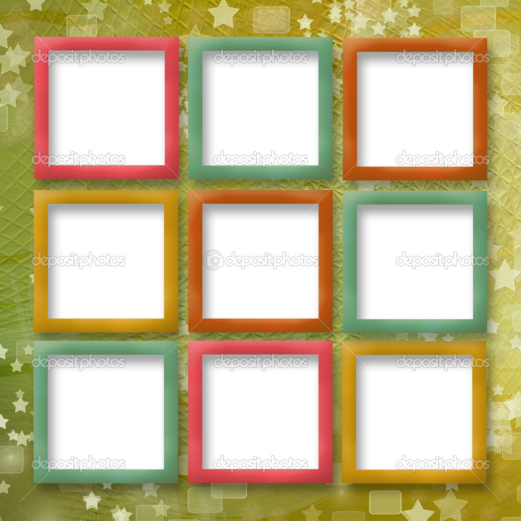 Multicoloured backdrop for greetings or invitations with frames ...